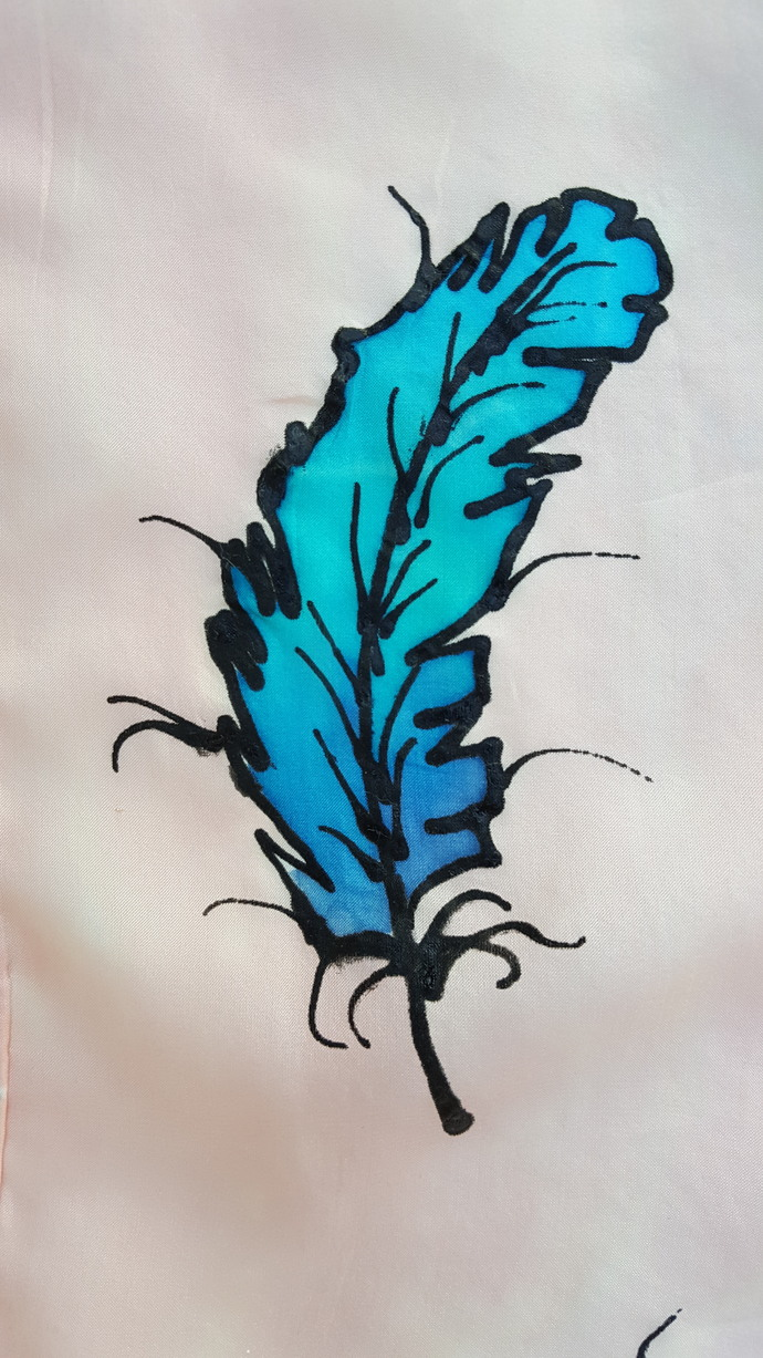 Hand Dyed Silk Scarf -  Feathers - Lite Peach with Turquoise and Blue Feathers -