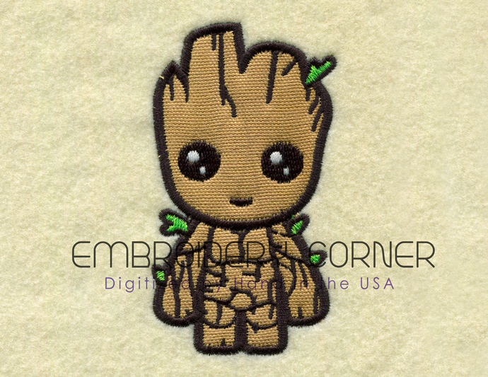 Little Groot Applique Design for Embroidery Machines 5x7 - Instant Download