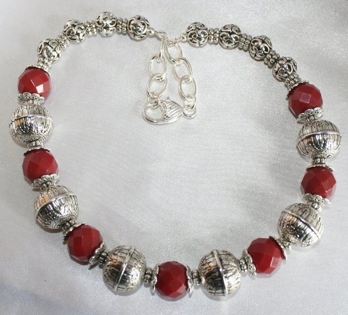 Dark Red Ruby Quartz Statement Necklace, Tribal Style Jewelry, Tibetan Silver