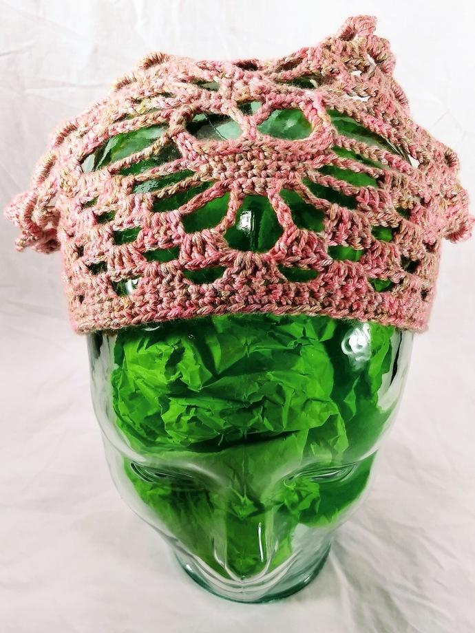 OOAK Mottled Pink Skull Kerchief