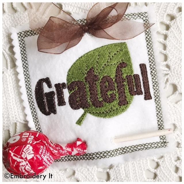 Gratitude Lollipop Holders Machine Embroidery In the hoop Set of 3 Designs -