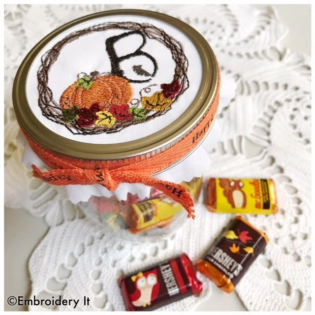 Pumpkin Mason Jar Full Alphabet Set Machine Embroidery Design Instant Download