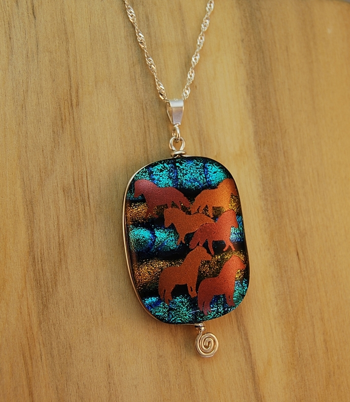 Horses on Teal and Salmon Dichroic Glass Pendant, Sterling Silver Wire Wrapped,