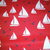 Pretty white sailboats float on a red sea background with navy seagulls on our