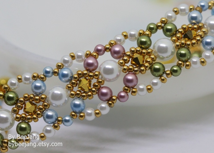 PDF Tutorial - Pearla bracelet Beading Instruction Instant download Beadweaving