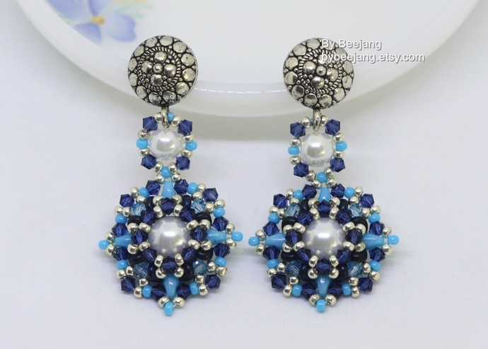 PDF Tutorial - Ladonna Earrings Digital Beading Instruction Beadweaving Pattern