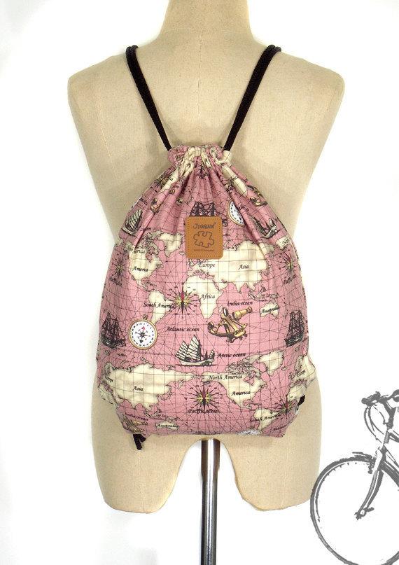 Vintage world map backpack canvas drawstring bag by go4good on vintage world map backpack canvas drawstring bag lap top bag handmade bag publicscrutiny Images