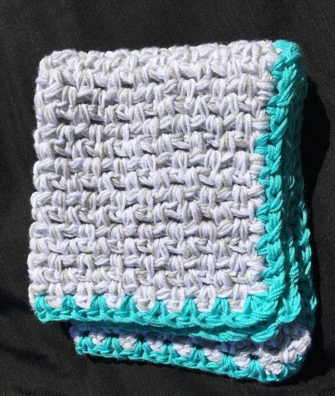 Aqua / Turquoise Blue Baby Blanket...Modern crochet ... Aqua, gray and white