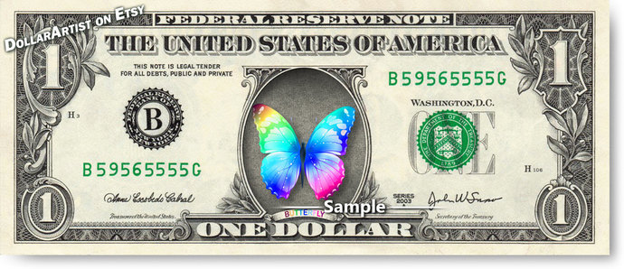 RAINBOW BUTTERFLY on a REAL Dollar Bill Cash Money Collectible Novelty Bank Note