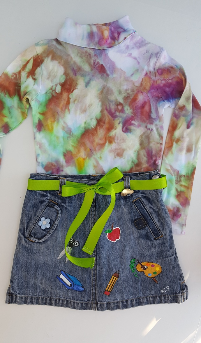 School Design - Upcycled Hand Painted Girl's Denim Skirt - Size 6