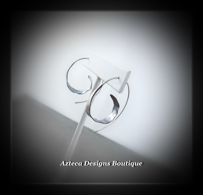 Silver Hand Fabricated Rustic Spiral Hoop Earrings