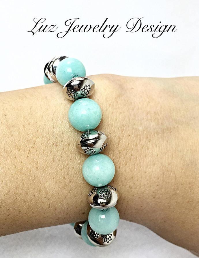 Green bracelet - Elephant bracelet - Aqua bracelet - Stretch Bracelet - Blue