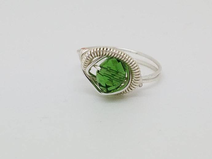 3d65e6dce Green Swarovski Crystal Ring Silver Peridot Ring Green Swarovski Crystal  Ring