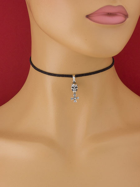 Black Choker Necklace with Skull Pendant/Suede Leather Necklace/Suede
