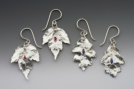 maple leaf earrings, leaf jewelry, fall earrings, autumn jewelry, silver