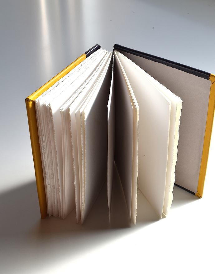 Plum and Yellow Leather Open Spine Sketchbook
