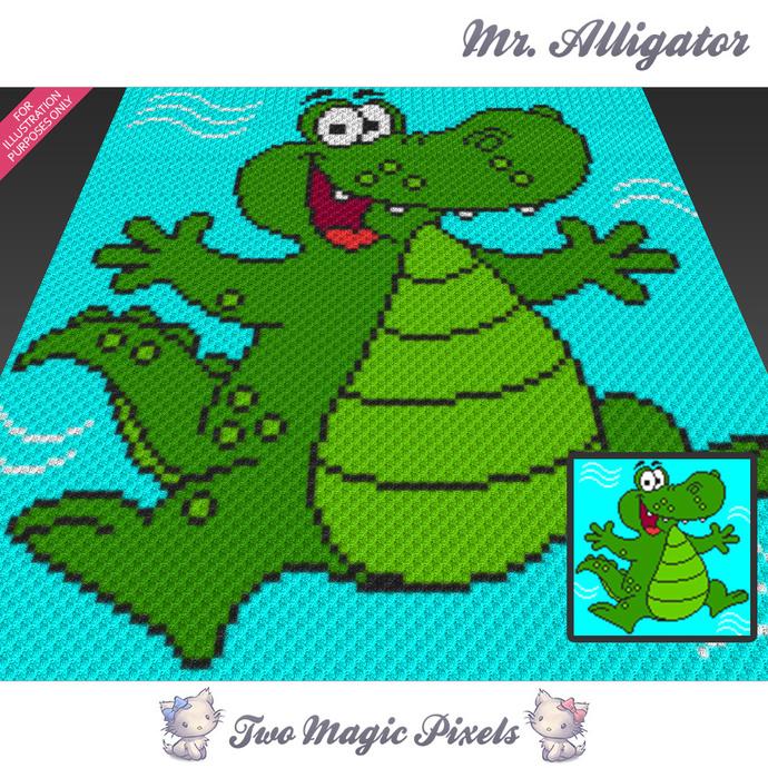 Mr Alligator Crochet Blanket Pattern C2c By Twomagicpixels On Zibbet