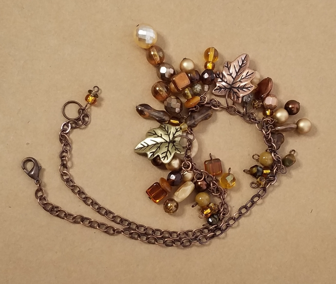 Antique Copper Chain Necklace With Leaf Charms Mixed Pearls Crystals in Fall