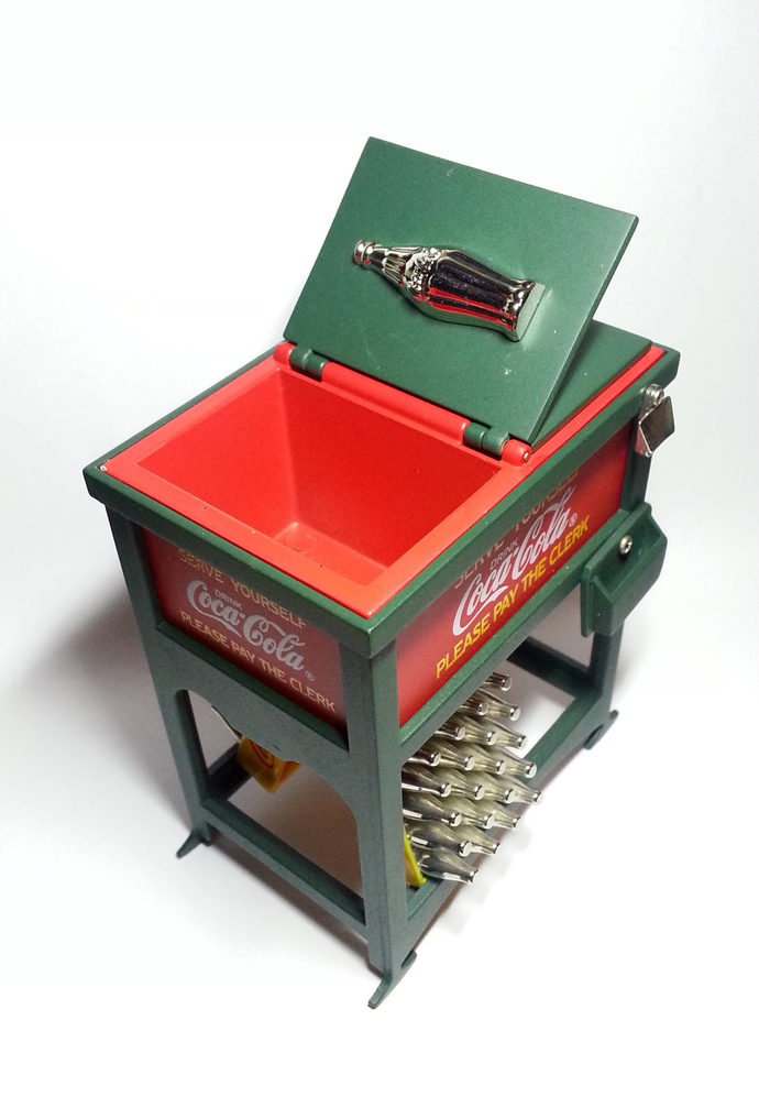 Coca Cola Decorative Green Red Metal Ice Box Cooler w/ Miniature Contour Bottle