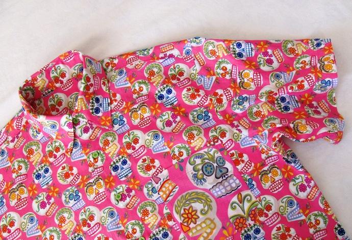 Bright Pink Sugar Skull Day of the Dead Men's Shirt Short Sleeve. All Cotton