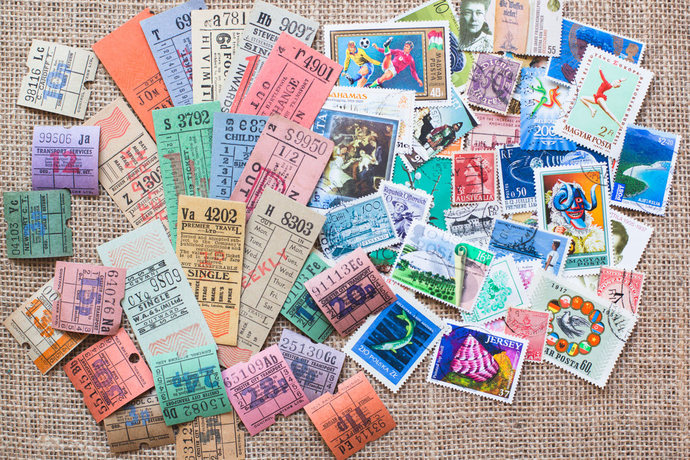 Original vintage bus ticket & worldwide used stamp lot - perfect for Travelers