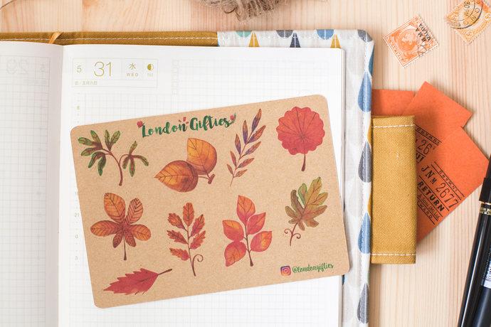 Watercolour autumn leaves - decorative vintage look kraft watercolour planner