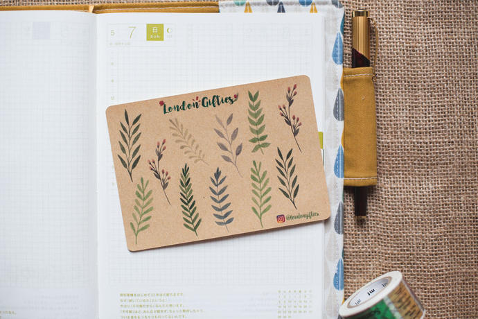 Summer leaves and branches - decorative kraft watercolour planner stickers