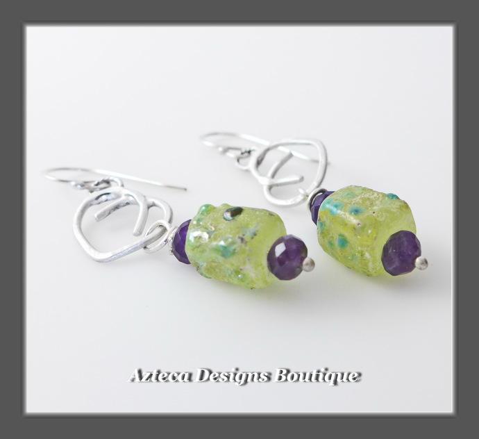 Sideways Love~ Hand Fabricated Silver Hearts Artisan Lampwork Earrings
