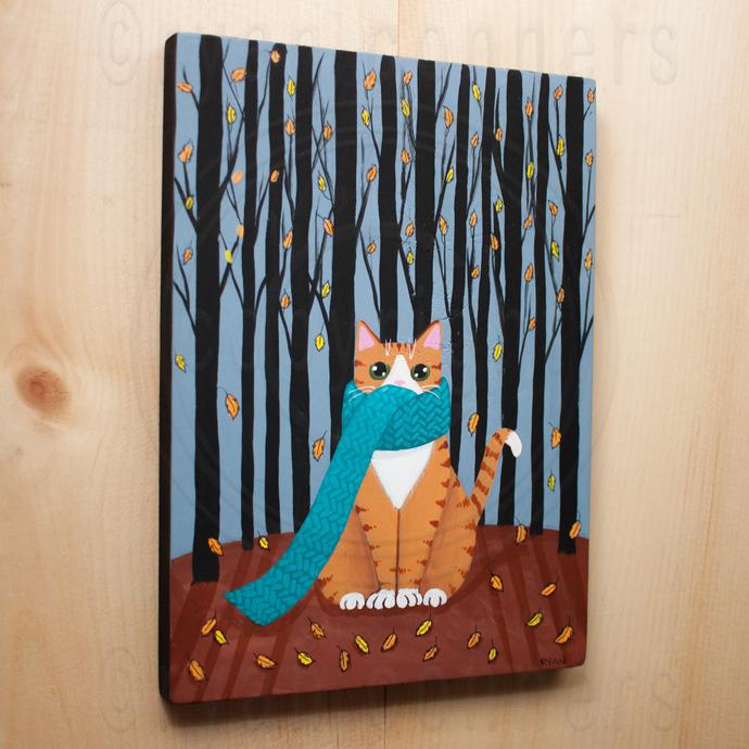 Autumn Ginger Forest Cat Original Cat Folk Art Painting