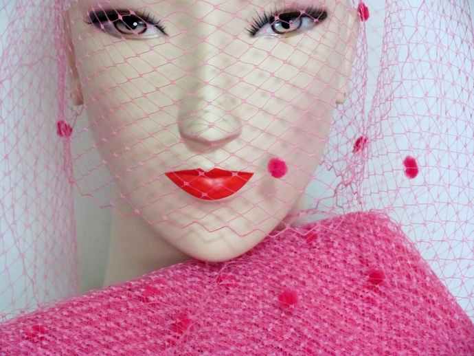100 Yards  Bright Pink Chenille Dot Millinery Veiling  Hat Veil for Hat Making,