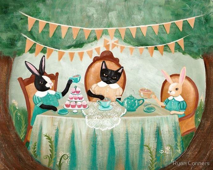 Rabbit and Cats Tea Party Cat Folk Art Print 8x10, 11x14