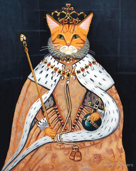 The Queen's Coronation Cat Folk Art Print 8x10, 11x14