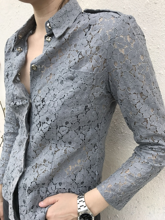 SHIRT/LACE/POCKETS/grey/women/ladies shirts/fashion 2017/elegant/ designer