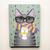 Autumn Pumpkin Coffee Grey Tabby Cat Original Folk Art Portrait Painting