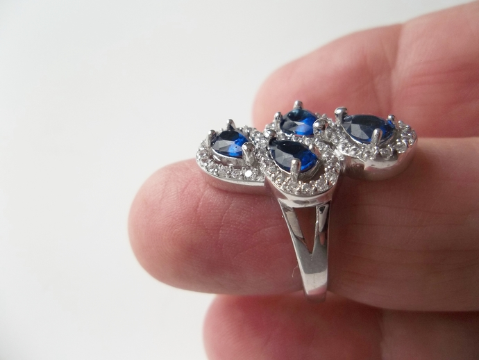 3ct  Sapphire and White Topaz Ring, cocktail ring, Keepsake Gift, High End