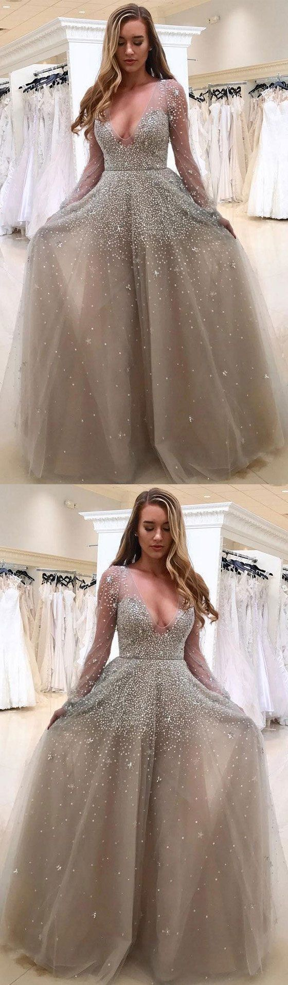 Long Sleeve Tulle A-Line Charming 2018 Prom Dresses,Prom Dresses,Formal Women