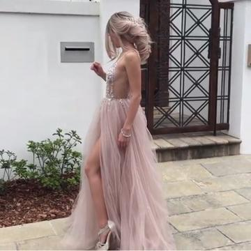 Backless V-Neck Tulle A-Line Charming 2018 Prom Dresses,Prom Dresses,Formal