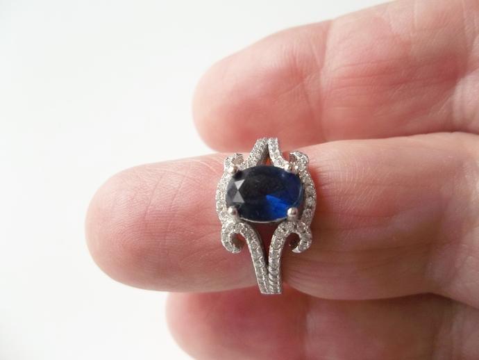Sapphire ring, keepsake gift, September Birthstone,  New Trend Style, size 6,