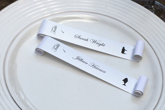 Meal Choice Wine Glass / Champagne Flute Seating Place Card Scroll  - Wedding /