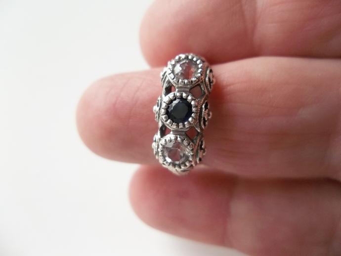Sapphire ring, keepsake gift,  Trilogy ring, Art Deco Style, size 8, Engagement