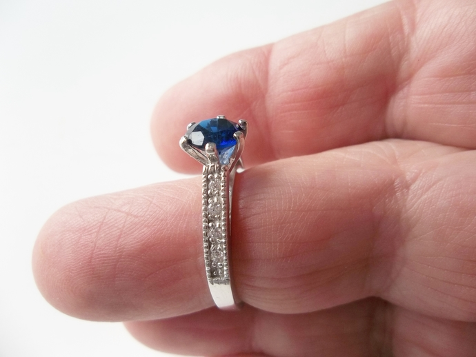 Promise Ring, Blue Sapphire, Hollywood Regency, size 6,  Commitment Ring,