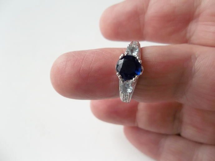 2 ct  Sapphire ring, keepsake gift,  Trilogy ring, Art Deco Style, size 8,