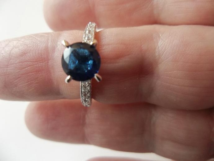 Promise Ring, Blue Sapphire, Hollywood Regency,  Commitment Ring, September