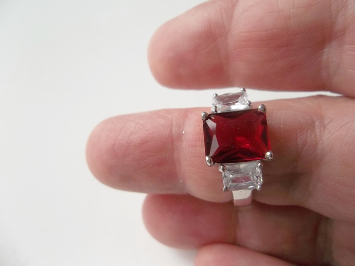Red Garnet and White Topaz, size 8  Ring, Promise Ring, Trilogy Engagement Ring,