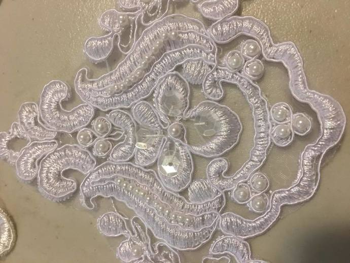 White Pearl & Sequin Medallion Wedding Appliques - Sold Individually