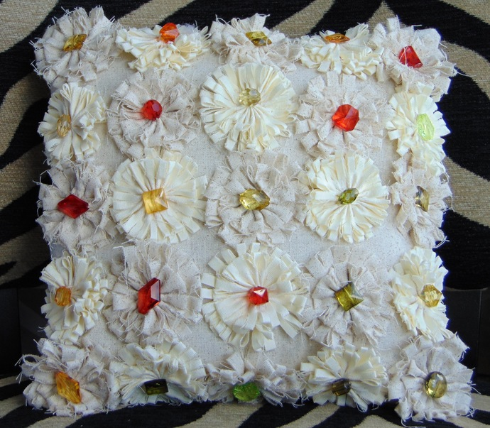 White Shabby Chic Flower Pillow