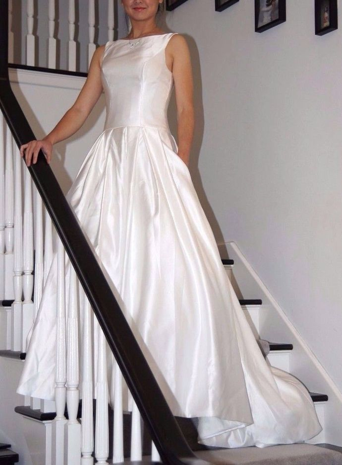 Satin Wedding Dress,Long Wedding Dresses,White Wedding Dress,Wedding dress,W02