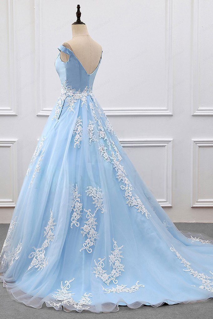 Sky Blue Appliques Charming 2018 Prom Dresses,Prom Dresses,Formal Women