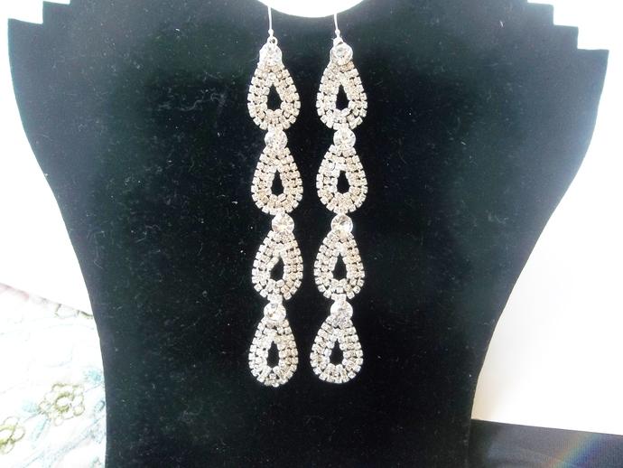 Rhinestone earrings, statement earrings, shoulder duster earrings, Empress