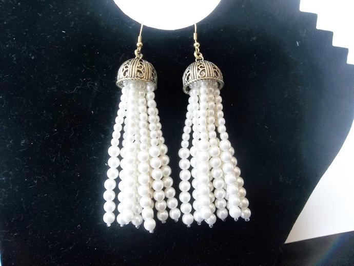 Pearl tassel earrings, statement earrings, shoulder duster earrings, Empress